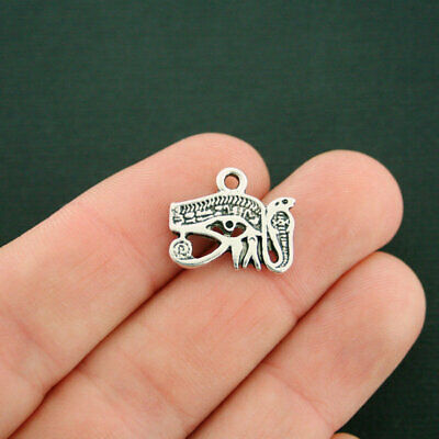 6 Eye of Horus Charms Antique Silver Tone With Inset Rhinestone - SC7536