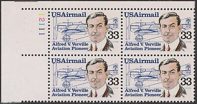 US C113 Airmail Alfred V Verville 33c plate block UL 12111 MNH 1985