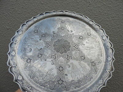 Spectacular Masterly Engraved Persian Islamic Solid Silver Tray By Master Lahiji