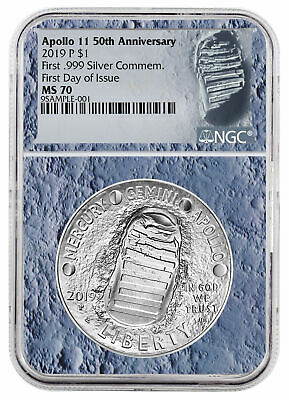 2019 Apollo 11 50th Annv Commem Silver Dollar NGC MS70 FDI Moon Core SKU56529