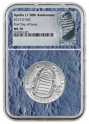 2019 D Apollo 11 50th Commem Clad Half Dollar NGC MS70 FDI Patch SKU56533