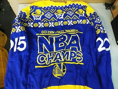 646281282 New Golden State Warriors 2015 Nba Champs Ugly Christmas Holiday Sweater Sz  2Xl
