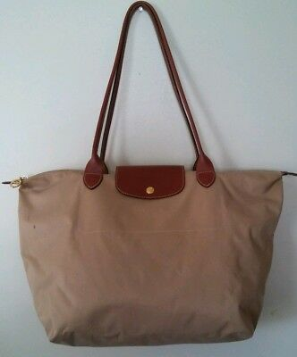 Longchamp Paris LePliage Large Long Handles Shopping Tote Tan Brown c2affb5f3ada7