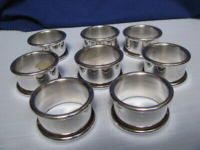 "VINTAGE BRASS NAPKIN Rings Holders 1"" Round Ribbed Edges INDIA Set"