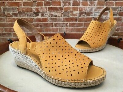 b77c31c120 Clarks Artisan Yellow Leather Petrina Gail Espadrille Wedge Sandal 9.5 W New