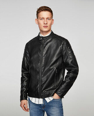 ZARA SS17 MAN Black Oversized Faux Leather Biker Jacket Ref