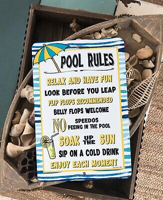 POOL RULES METAL Sign - Home Decor - Swimming Pool Sign - Lemonade Sign