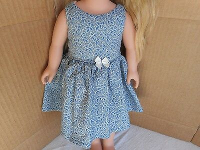 "Blue Leaf Dress 18"" Doll/ Handmade"