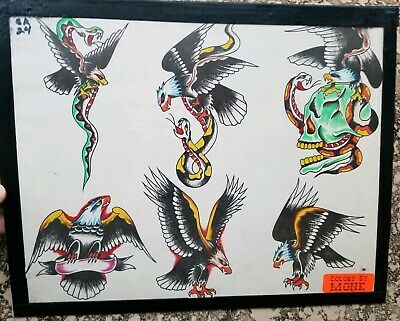 vintage 80s s&r huck rogers produx tattoo eagle snake battle skull colors:monk