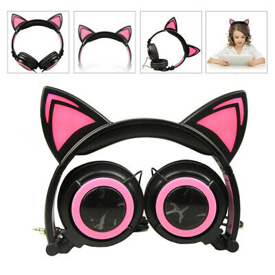 Foldable Cat Ear LED Music Lights Headphone Earphone Headset For Laptop MP3 US