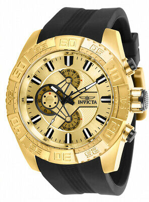Invicta Men Pro Diver Chrono 100m Gold Tone Stainless Steel/Silicone Watch 25998