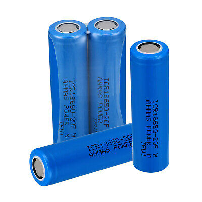 USA 4 x Blue ICR 18650 2000mAH 3.7V Li-ion Rechargeable Flat Top Lithium Battery