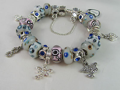 "SWEET 925 STAMPED SILVER 20cm EUROPEAN STYLE CHARM BRACELET "" MERRY PLAYGROUND """