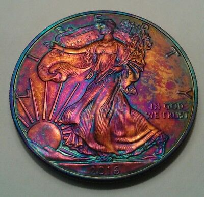 2016 american silver  eagle dollar with beautiful toning, * TONED .$
