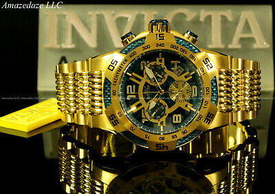 NEW Invicta Men 50mm Speedway Swiss Z60 Chronograph Gold Plat Stainless St.Watch