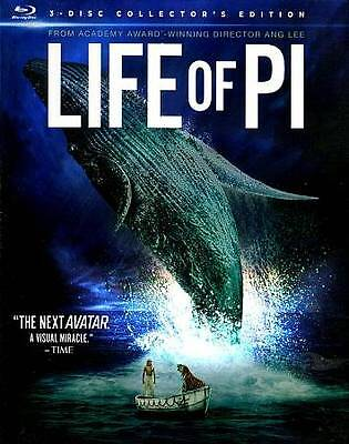 Life of Pi (3D/Blu-ray/DVD, 2013, 3-Disc Set)  w/ Slip Cover Free Shipping!