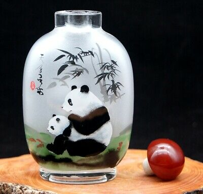 Chinese Handmade inside painted Bamboo and Panda glass snuff bottle big
