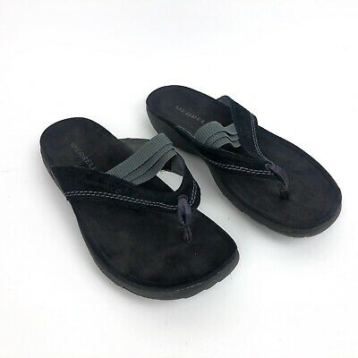 96a4403271d3 Merrell Mimosa Anise Drizzle In Black Slide Thong Sandals Shoes Womens 8