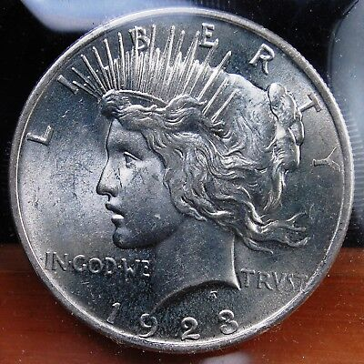 1923 Peace Dollar Brilliant Uncirculated All White Nice Luster