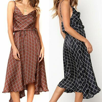 Pretty Women Summer Plaids Print Long Maxi Evening Party Dress Beach Sundress