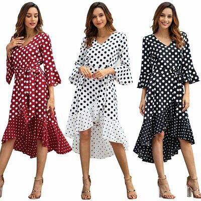 Pretty Women Polka Dots Bell Sleeve Midi Long Summer Party Beach Cocktail Dress
