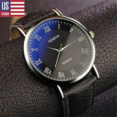 USA Mens Stainless Steel Quartz Watch Black Brown Leather Band Analog Wristwatch
