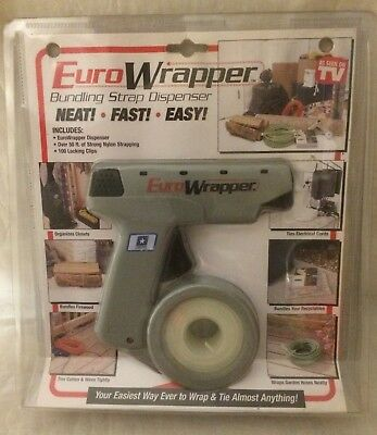 Euro Wrapper Bundling Strap Dispenser w/ Strapping & Clips New in Sealed Package