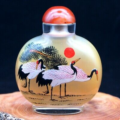 China Collectible Handmade inside painted pine and crane glass snuff bottle big