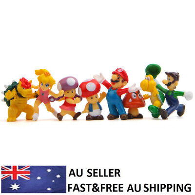 Super Mario Bros Yoshi Luigi Goomba Action Figure Doll Toys Cake Toppers 8 PCS