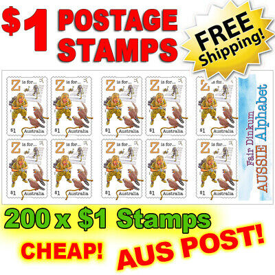 200 x $1 Postage Stamps ~ Brand New! Excess Genuine Australia Post FREE SHIPPING