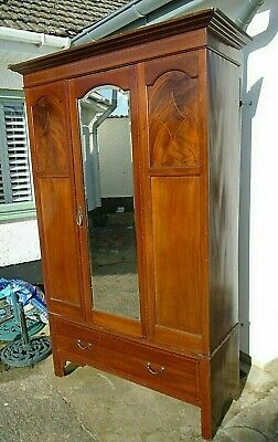 Edwardian Inlaid Mahogany Double Wardrobe Antique Single Mirror Door Drawer