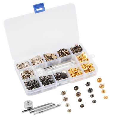 120 Set Metal Snap Fasteners Studs Button Leathercraft w/ 4 Fixing Tools CR061