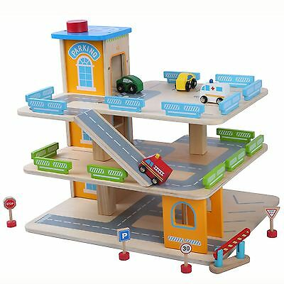 Wooden Car Park Garage With Lift Fun Toy Cars