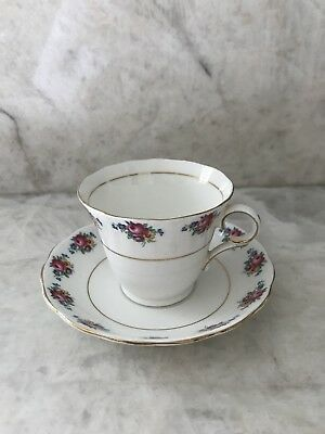 COLCLOUGH Pink Rose Floral Cup and Saucer Made in England