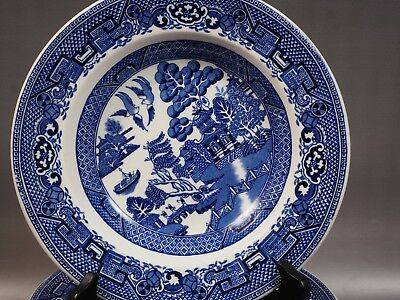 WOODS WARE Wood & Sons England BLUE WILLOW Soup Plate Bowl