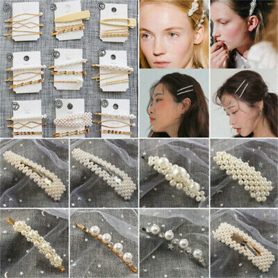 Fashion Women Pearl Hair Clip Snap Barrette Stick Hairpin Hair Accessories Gift
