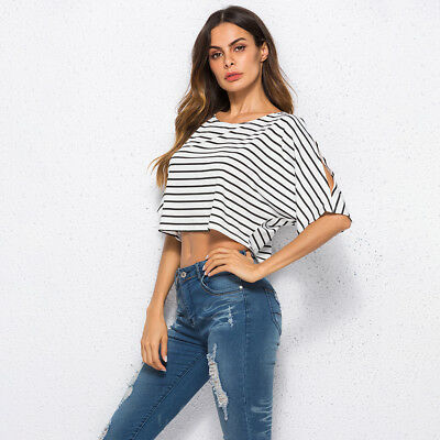 Women Summer Loose Striped Sleeve Blouse Tops Ladies Casual Strappy Shirt 8C