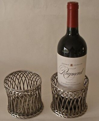 Pair Of Fantastic Tiffany & Co Sterling Silver Woven Basket Wine Coasters