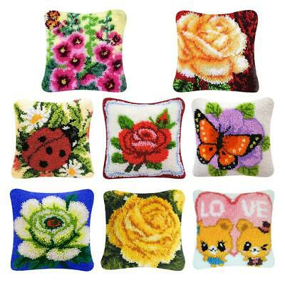 Flower Latch Hook Kits DIY Embroidery Crocheting Needlework Supplies for Cushion