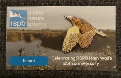 * RSPB PIN BADGE * Special Picture Background * BITTERN * 25 YEARS OF HAM WALL *