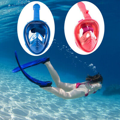 Full Face Snorkel Diving Mask For Kids 180° Panoramic Swimming Scuba Fit Gopro