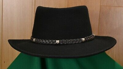 0909dedd0ac Flex Felt 100% Wool Wide Brim Fedora Hat Black Made in USA Men's Size X