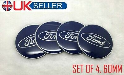 ⭐ 4 x Ford 60mm Centre Caps Stickers Emblem Navy