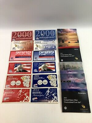 22 Pc Lot 2000-2005, 2007-2011 D & P United States Mint Uncirculated Coin Sets