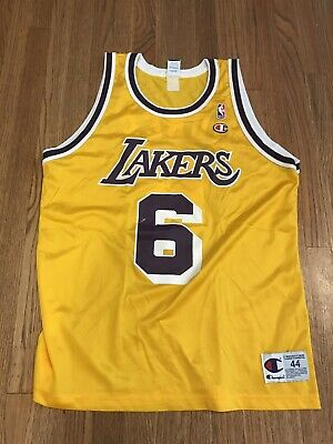ce9f23fc66e Champion NBA Los Angeles Lakers Eddie Jones 6 Basketball Jersey Size 44  VINTAGE