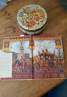 QUEEN ELIZABETH 11..CORONATION SWEETS tin..book ELIZABETH CROWNED QUEEN..