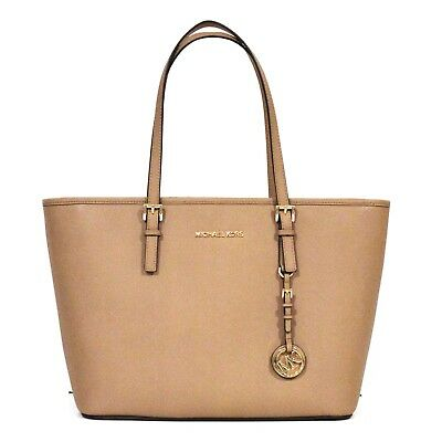 68676fa71960 MICHAEL KORS Travel TOTE Dark Khaki PURSE Saffiano LEATHER Jet Set MED NWT   278