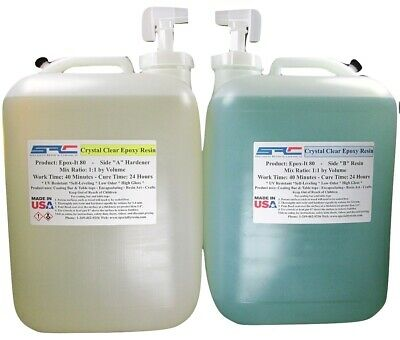 Clear Epoxy Resin for Table Tops, Gloss Coating, Casting ( 10 Gallons )