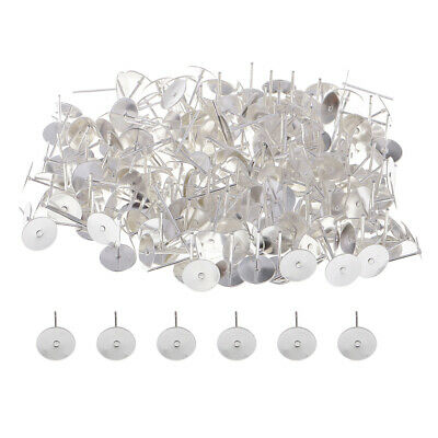200x Blank Earring Stud Post with Flat Pad Silver Jewelry Making Findings