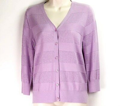 733dda2071 Neiman Marcus Womens Size Large Purple Silk and Cashmere Blend Cardigan  Sweater